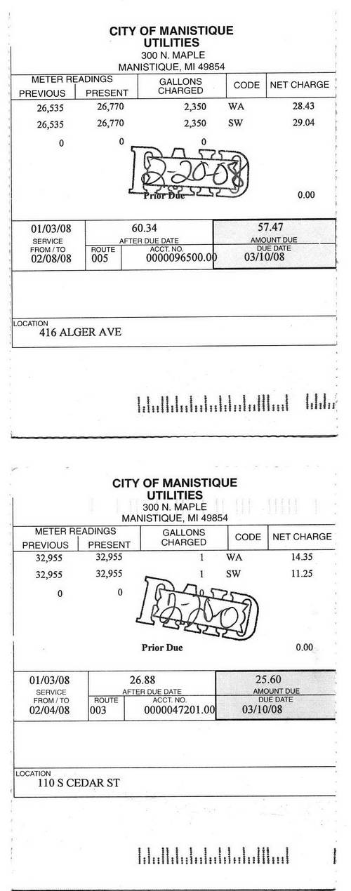 City of Manistique water bills of 020808