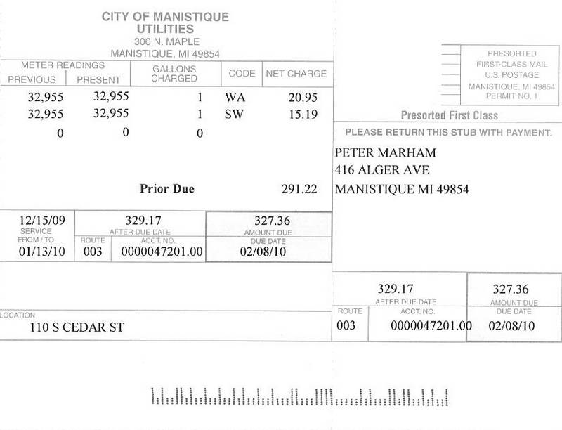 110 S Cedar water sewer bill of 011310