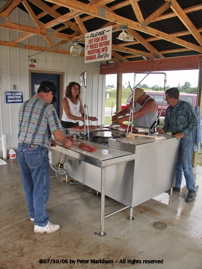 Manistique fish cleaning table