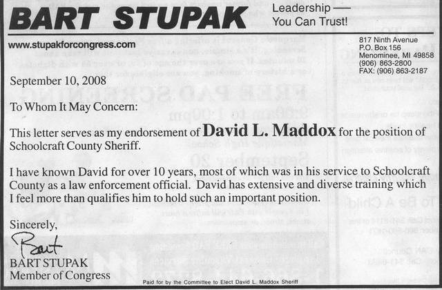 Bart Stupak endorses an amoral candidate for Schoolcraft County Sheriff